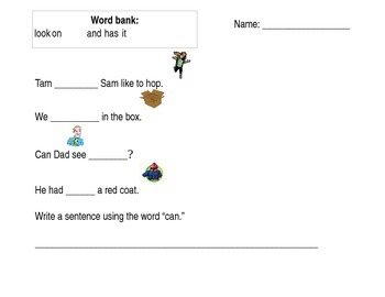 Sight word cloze sentences