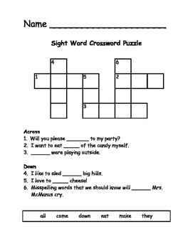 Sight word crossword puzzle