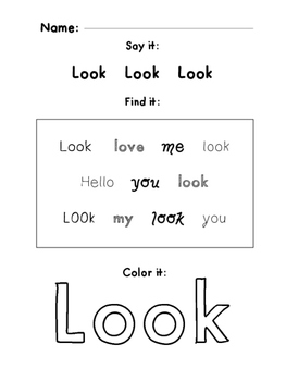 Sight word find and color
