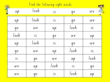 Sight word find boards