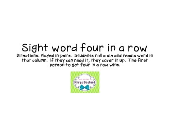 Sight word four in a row game.