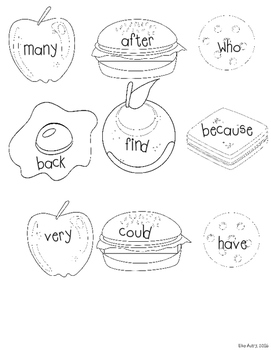 Sight word game: Fill the Plate