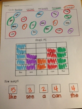 Sight word graph it: like, the, can, see, a