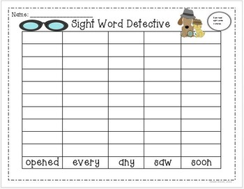 Sight word graphs: First Grade Treasures Unit 4