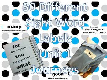 Sight word labels for Journeys Common Core Unit 1