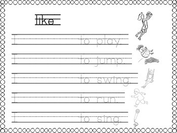 Sight word like/can/is/and printable