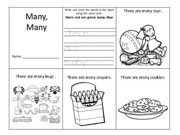"Sight word mini book ""Many"""