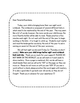 Sight word notebook