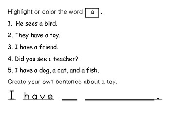 Sight word of the Day A