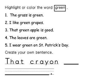 Sight word of the Day Green