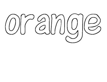 Sight word of the Day ORANGE