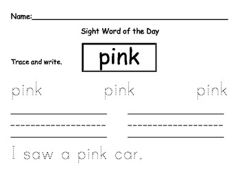 Sight word of the Day PINK