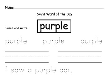 Sight word of the day PURPLE