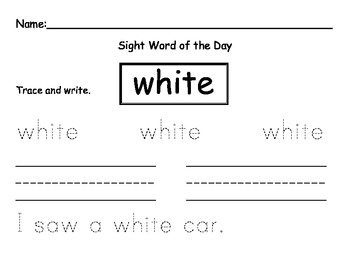 Sight word of the day WHITE