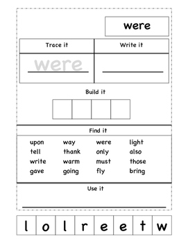 Sight word practice- 1st quarter
