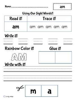 Sight word practice: Am