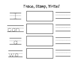 Sight word practice -Trace, Stamp, Write