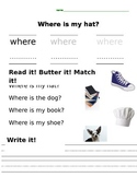 "Sight word practice ""Where"""