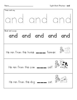 Sight word practice - and