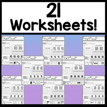 Number Worksheets 1-20 {Kindergarten Math Worksheets}