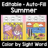 Color by Sight Word Summer and Sight Word Coloring Pages Summer {8 pages!}