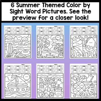 Color by Sight Word Summer and Blank Summer Coloring Pages {8 pages!}