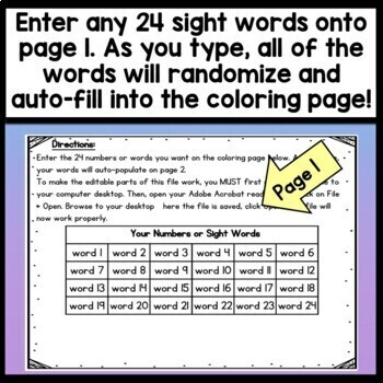 Sight Word Coloring Sheets For Summer By Sight Word