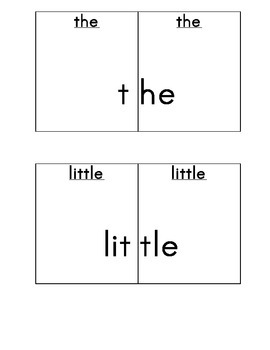 Sight word puzzle cards for Scott Foresman