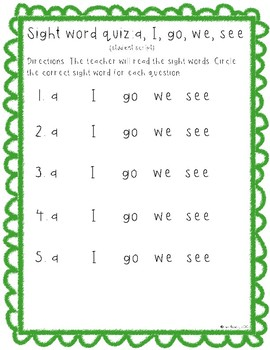 Sight word quiz (a, I, go, we, see)