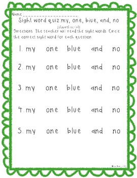 Sight word quiz (no, and, blue, one, my)