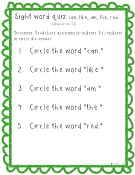 Sight word quiz (the, am, red, like, can)