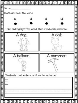 Sight word reading emergent sentences READING INTERVENTION