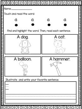 Sight word reading emergent sentences READING INTERVENTION