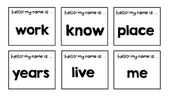 Sight word review second 100 words (Hello! My name is.. Activity)