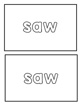 "Sight word ""saw"" Emergent Reader"