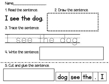 Sight word sentence