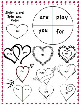 Sight word spin and color - Valentine Theme