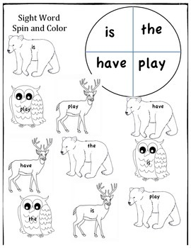 Sight word spin and color. Winter Animals