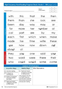 Sight word teaching and assessments for Year 1