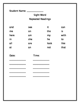 Sight word timed reading