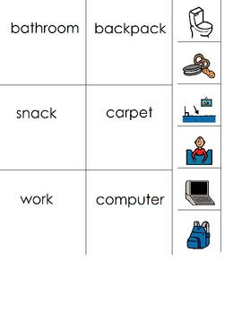 Sight word to picture match