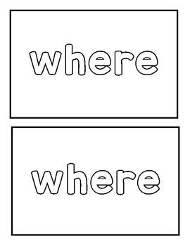 "Sight word ""where"" Emergent Reader"