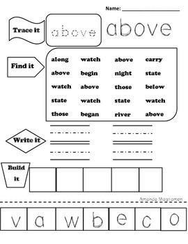 Sight word work!