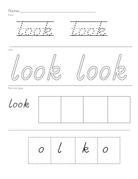 HD wallpapers kindergarten sight word look worksheet ...