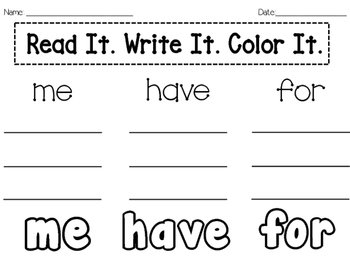 Read Write Color-Sight Word Practice