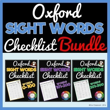Oxford Sight Words 0-300 Checklist BUNDLE