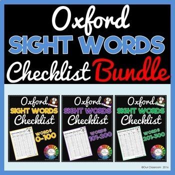 Sight Words 0-300 Checklist BUNDLE – Oxford Word List