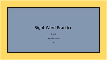 Sight words Dolch List 4