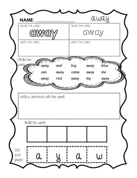 Sight words Dolche words Pre-Primer activity sheets