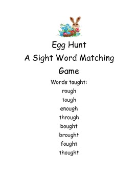 Sight words Egg Hunt first grade